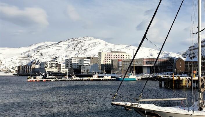 Hammerfest «skyline» med det nye kulturhuset –«Arktisk kultursenter» i forgrunnen (Foto: Privat).