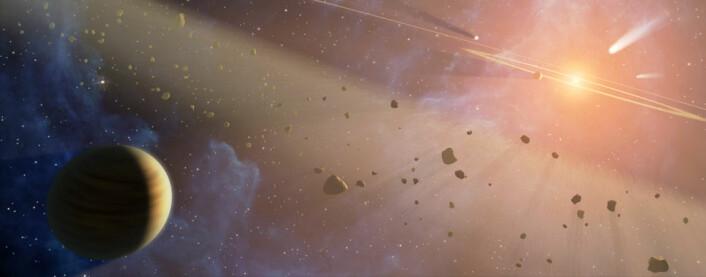 I løpet av jordens første «måned» var det mange asteroider i verdensrommet som traff jorden med jevne mellomrom. (Foto: (Illustrasjon: NASA))