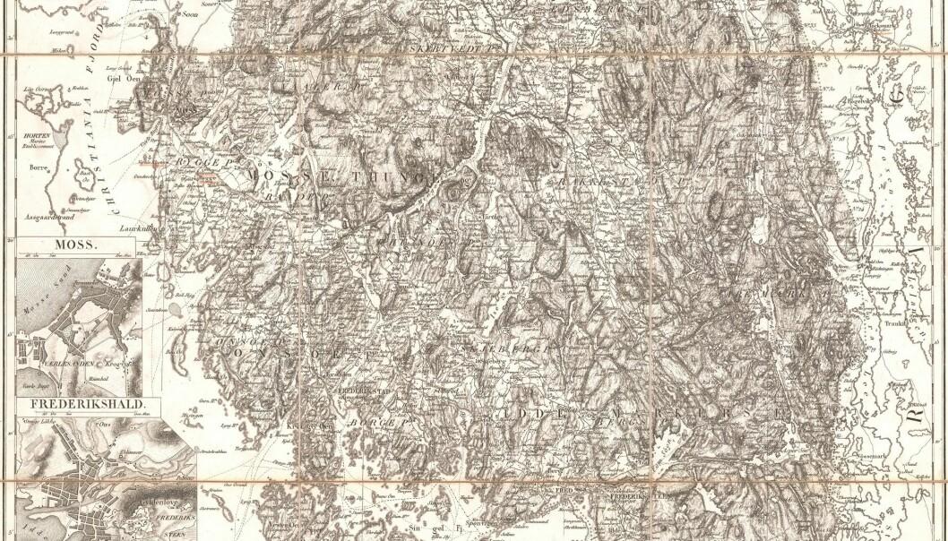 Kapteinene Gerhard Munthe og Niels Arentz Ramm var hovedmennene bak Norges første amtskart. (Kart: Kartverket)