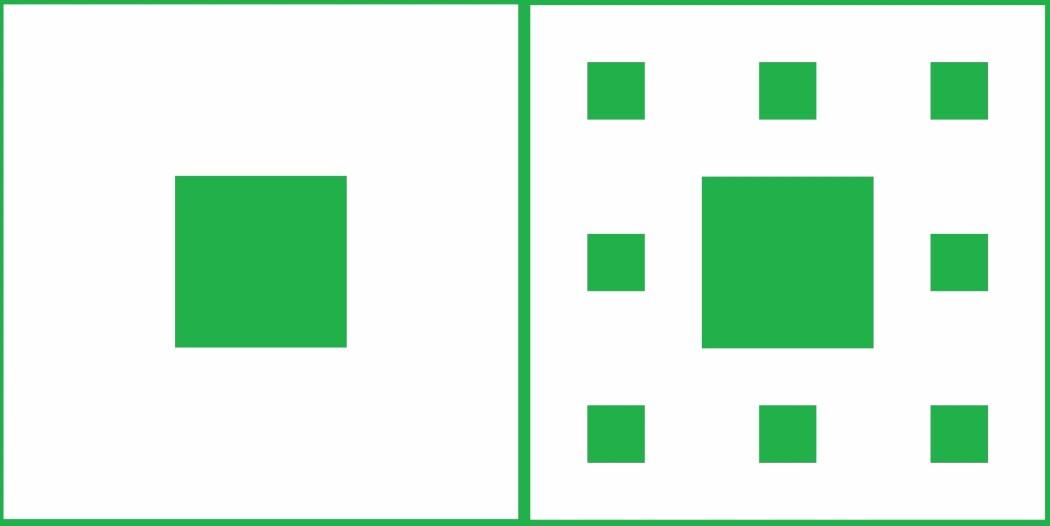 Første og andre nivå i det uendelige arbeidet med å lage et Sierpinski-teppe. (Illustrasjoner: Johannes Rössel, Wikimedia Commons. Montasje: Eivind Torgersen)