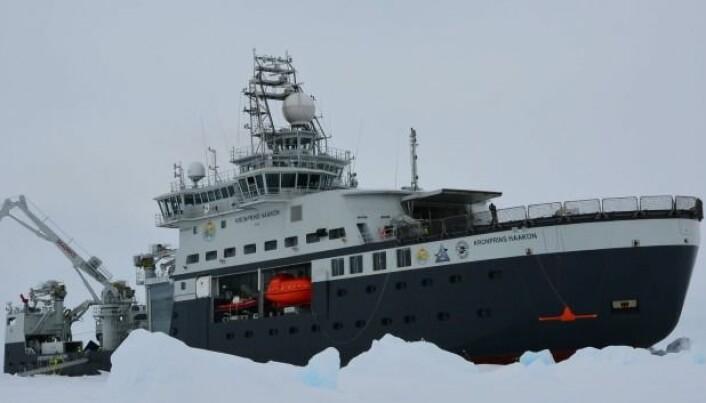 Det nye forskningsfartøyet R/V Kronprins Haakon på tokt i isen nord for Svalbard i september 2018. (Foto: Øyvind Breivik, Meteorologisk institutt / UiB)