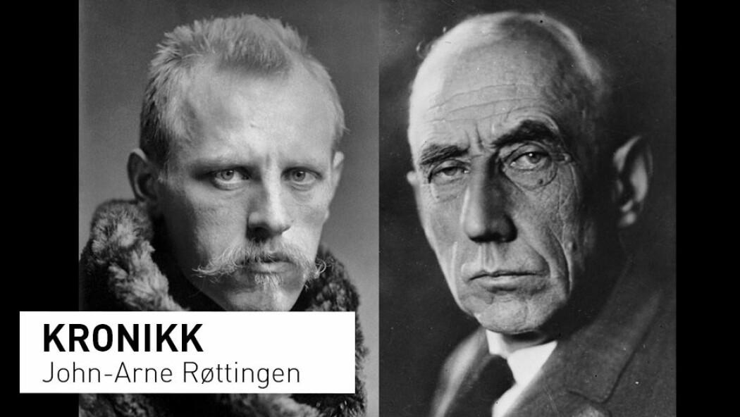 – Nansen og Amundsen var blant sin tids fremste internasjonale polarforskere. Vi trenger nye generasjoner av norske jenter og gutter som brenner for det polare, skriver John-Arne Røttingen. (Foto av Fridtjof Nansen (til venstre): Henry Van der Weyde / Offentlig eie. Foto av Roald Amundsen: Ukjent fotograf / Nasjonalbibliotekets samling / Offentlig eie)