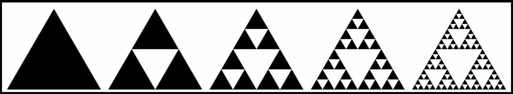 Først ut var trekanten. Vi fjerner en trekant i midten. Så fjerner vi en trekant i midten av de tre gjenværende svarte trekantene. Så fjerner vi en trekant i midten av de ni gjenværende svarte trekantene. Og så videre. (Foto: (Illustrasjon: Wereon, Wikimedia Commons))