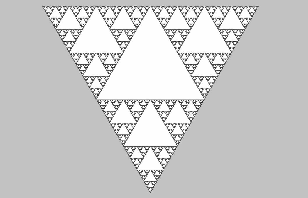 En Sierpinski-trekant vrengt opp ned. (Foto: (Illustrasjon: Sarang, Wikimedia Commons))