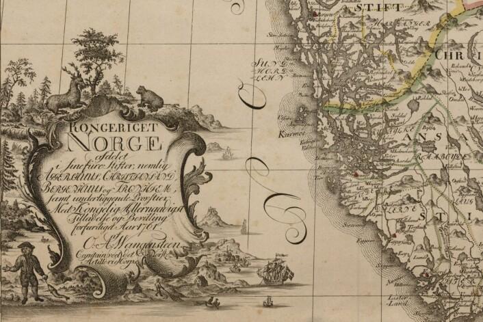 Kartusjer og små kunstverker utenfor Vestlandet. (Foto: (Kart: Kartverket))