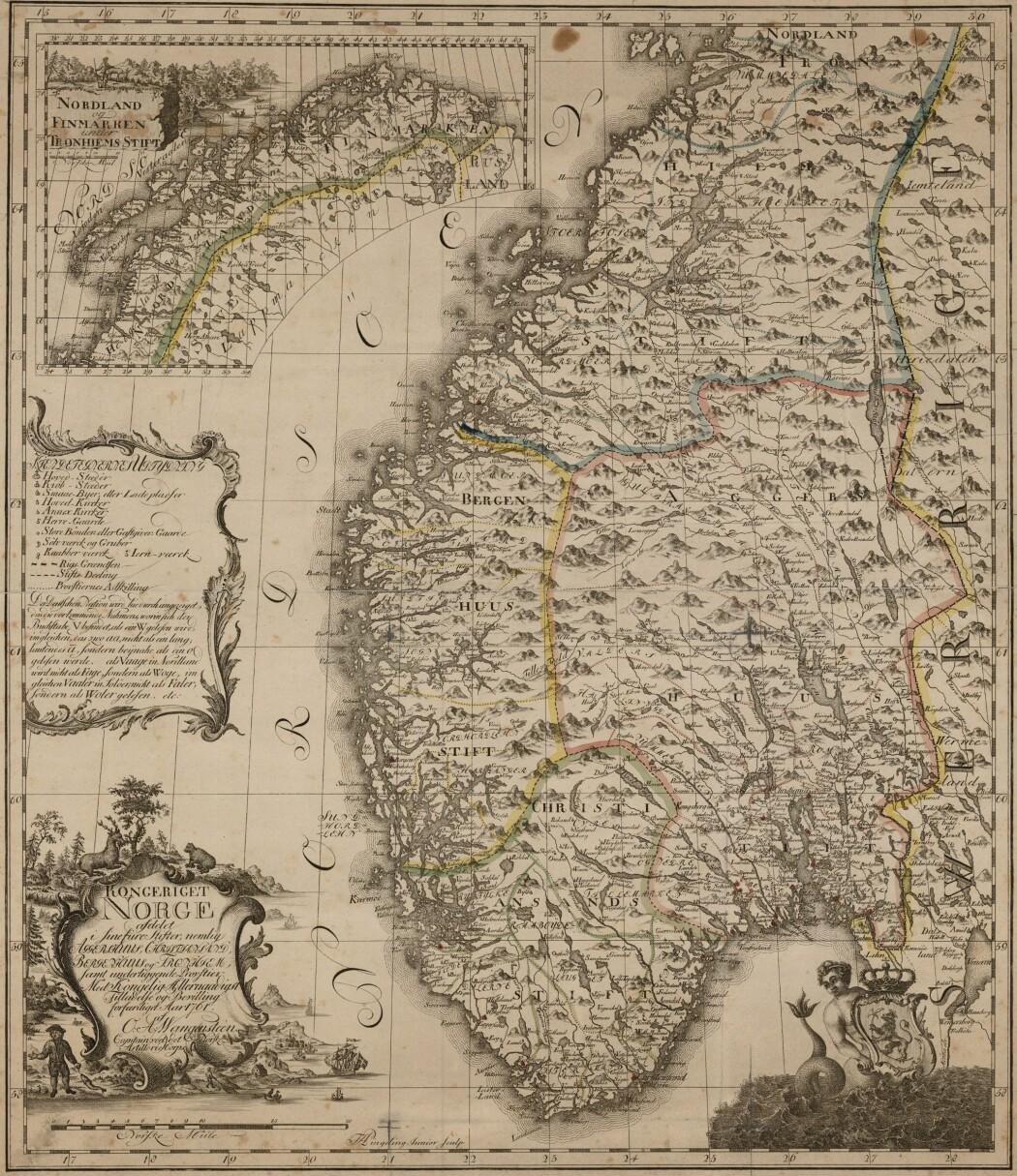 Slik tegnet Ove Andreas Wangensteen Norge i 1761. (Kart: Kartverket)