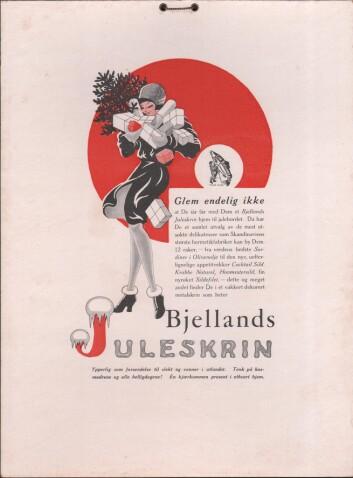 Reklame for Bjelland sine første juleskrin fra 1926 Foto: Torfinn Jaasund