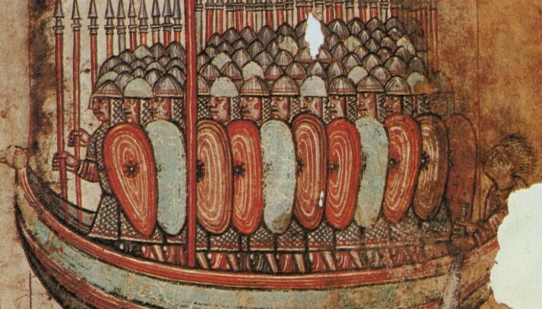 Vikinger som invaderer Bretagne i 919 e.Kr. Tegningen er fra et fransk manuskript fra rundt år 1100.  (Bilde: The Granger collection/NTB Scanpix)