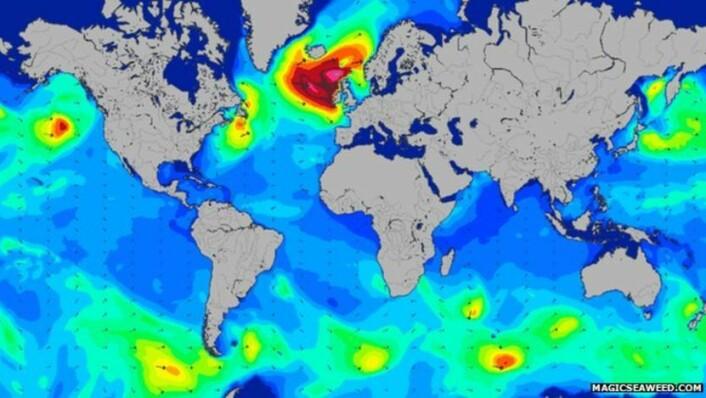 Rekordbølgene ble denne gangen registrert etter at en svært kraftig kaldfront hadde passert det samme området i Nord-Atlanteren. (Foto: (Bilde: WMO))