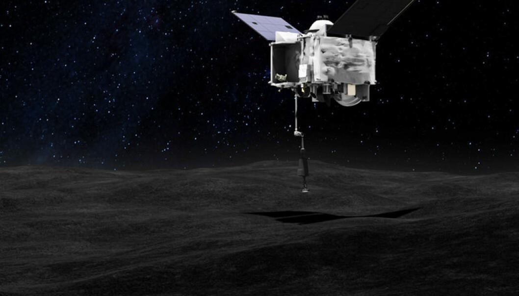 Slik så NASA for seg at prøvetakingen skulle skje, men nå viser det seg at overflaten er mye røffere enn framstilt på dette bildet. (Bilde: NASA)