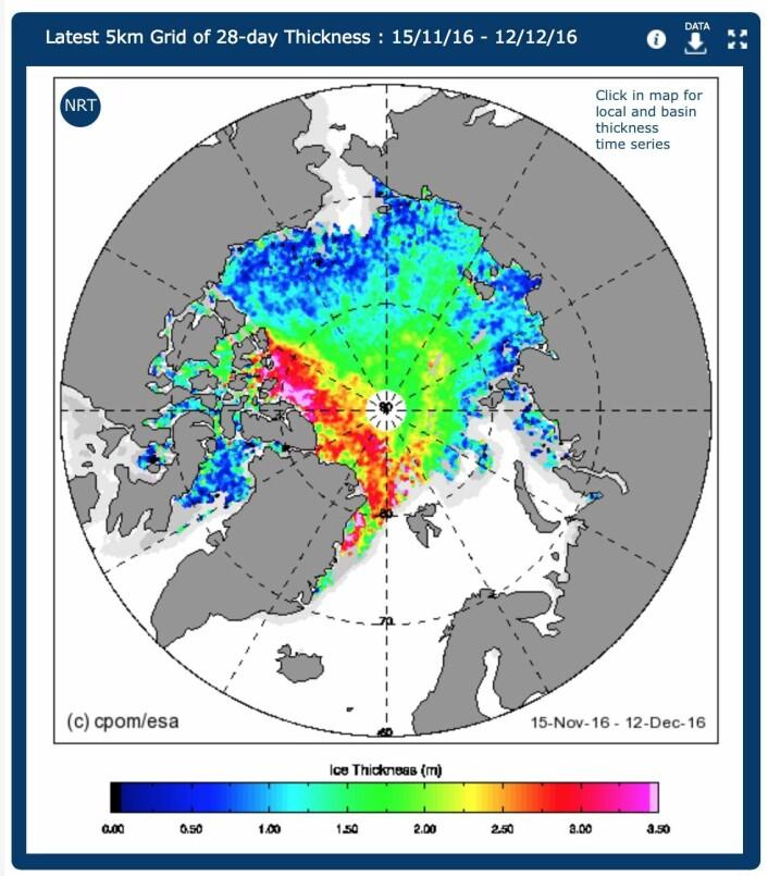 ESAs CryoSat måler istykkelse nøyaktig rett under satellitten. Men man må måle over flere uker for å få dekket hele Polhavet, så dette er ikke et øyeblikksbilde. (Bilde: CPOM/ESA)