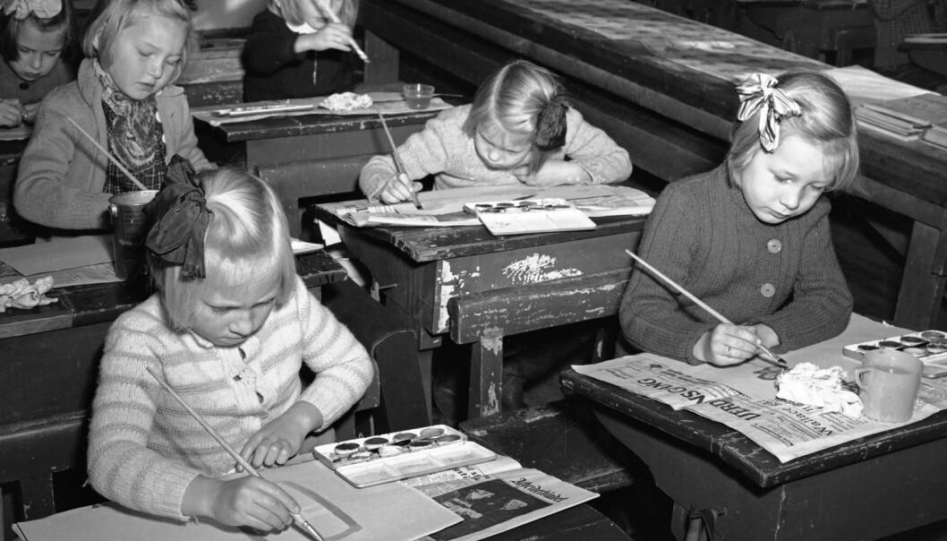 Elever på Bjølsen skole i Oslo i 1947. (Foto: Aktuell/NTB scanpix)