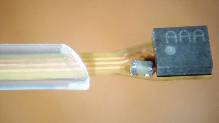 Selve sensorelementet (til høyre) er festet til et polyimidbasert, fleksibelt substrat som er kapslet inn i biokompatibel isolasjon. (Foto: Institutt for mikrosystemer / HSN)