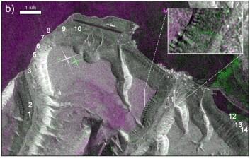 Dette er et utsnitt av et radarsatellittbilde som viser observerte observerte jordskred etter regnstorm 14.-15. oktober 2016, med endring i tilbakestråling mellom 7. Oktober og 19. Oktober 2016. (Foto: (Figur: Norut))