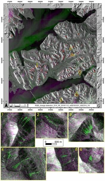 Radarsatellittbildet viser snøskredaktivitet, markert med røde punkter fra en 12 dagersperiode mellom 31. Oktober og 12. November. De gule rektanglene viser zoom-inn bilder av oppdagede snøskred. Snøskredene vises i grønt. (Foto: Norut)