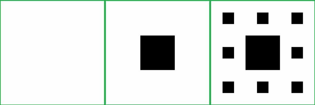 Til venstre et balnkt ark. I midten har vi klipt ut det midterste kvadratet. Til høyre har vi klippet ut det midterste kvadratet i de åtte resterende kvadratene. (Foto: (Illustrasjoner:Johannes Rössel, Wikimedia Commons. Montasje: Eivind Torgersen))