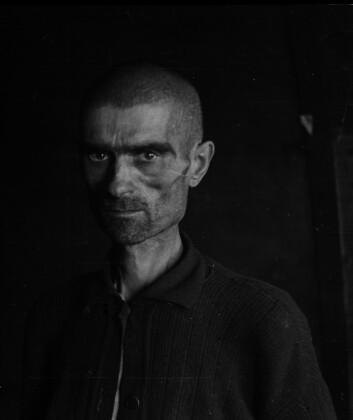 Her er et bilde av en frigjort sovjetisk krigsfange. Saltfjellet 1945. (Arkivfoto: Riksarkivet)