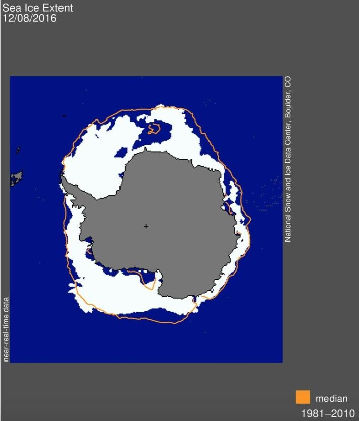 Sjøisen i Antarktis. (Bilde: NSIDC)