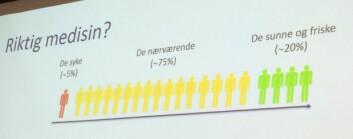 Fem prosent av oss er sykmeldt, mange av disse risikerer å havne på uføretrygd. 20 prosent er helt friske, men i den største gruppen er mange sårbare for påvirkninger fra arbeidsmiljøet som kan gjøre dem syke. (Foto: (Graf: STAMI))