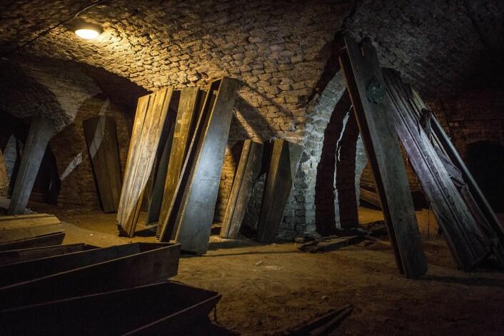 Krypten i Vilnius. Flere lik har blitt naturlig mumifisert her. (Foto: Kiril Cachovski of the Lithuanian Mummy Project, 2015)