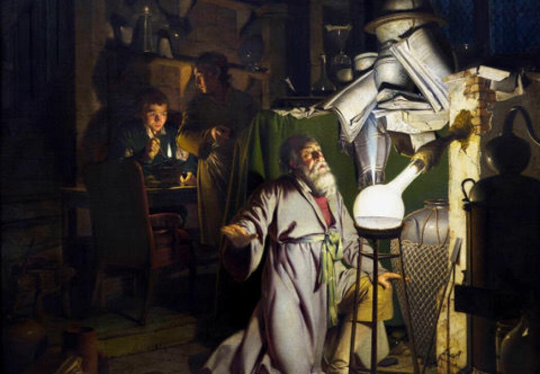 (Maleri: <i>En alkymist i søken etter filosofens stein</i>, av Joseph Wright, 1771)