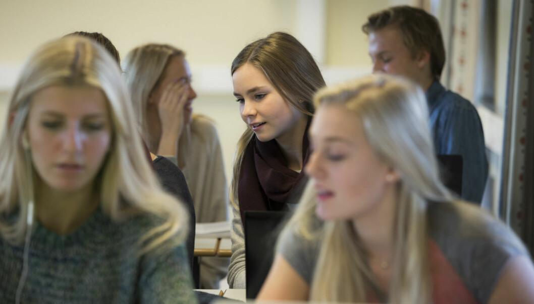 Elever på videregående er mer fornøyd enn i fjor, men på høyere utdanning er ikke studentene imponert over hva de får.  (Foto: Berit Roald/Scanpix/NTB)
