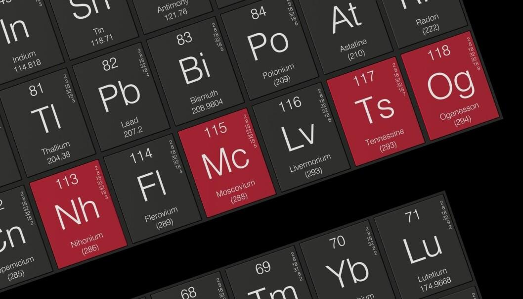 Nihonium 113, moscovium 115, tenness 115 og oganesso 118 er nå på plass i det periodiske system. (Illustrasjon: Credit: concept w / Shutterstock / NTB scanpix)