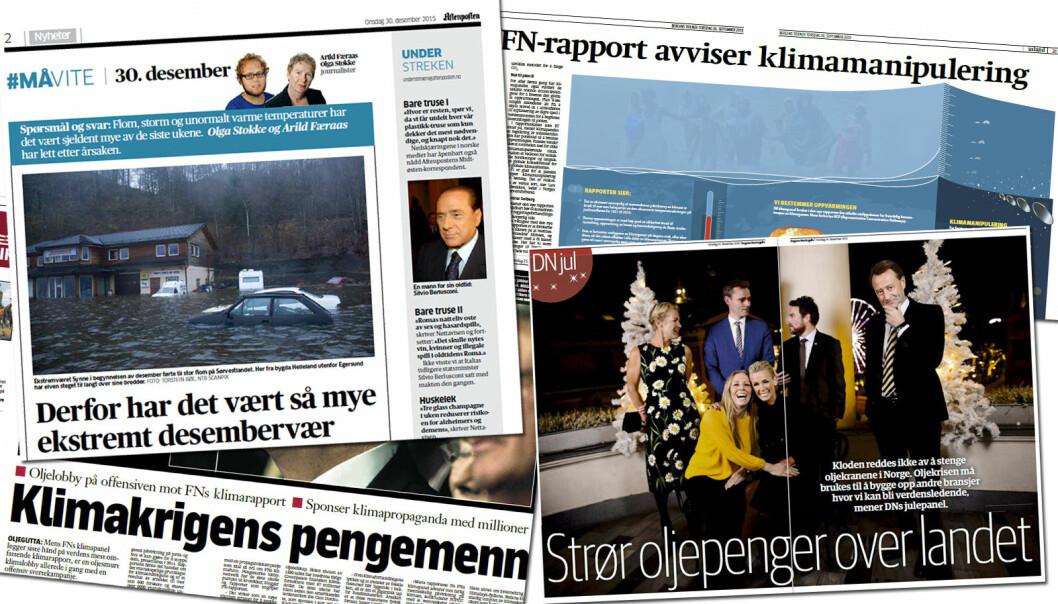 Slik ser det ut når norske aviser skriver om klima i nyere tid. (Faksimile fra Aftenposten, DN, Klassekampen og BT: forskning.no)