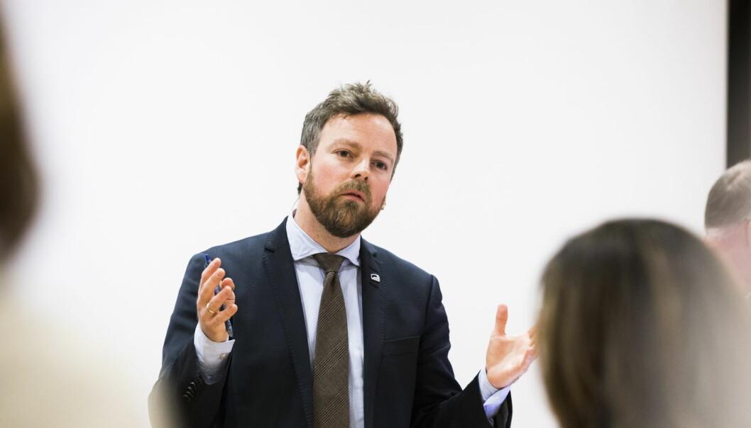 Kunnskapsministeren Torbjørn Røe Isaksen (H) under offentliggjøringen av PISA-resultatene fra 2015 på Universitetet i Oslo tirsdag. (Foto: Berit Roald / NTB scanpix)