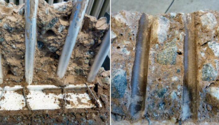 Halvparten av sementen i den nye betongtypen er erstattet med varmebehandlet leire. Til venstre ser vi aluminiumsarmering uten tegn til korrosjon. Til høyre ser vi avtrykk i armert betong – etter 40 dagers hedring under fuktige forhold. (Foto: Hydro)