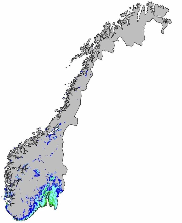 Hotspots for truede arter. Topp 10 %, 5 % og 1 % av områdene med høyest modellert forekomst av truede arter vises i henholdsvis mørkeblått, lyseblått og grønt. Kartet er hentet fra NINA-rapport 1572.