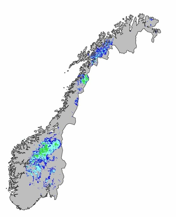 Hotspots for truede ansvarsarter. Topp 10 %, 5 % og 1 % av områdene med høyest modellert forekomst av truede ansvarsarter vises i henholdsvis mørkeblått, lyseblått og grønt. Kartet er hentet fra NINA-rapport 1572.