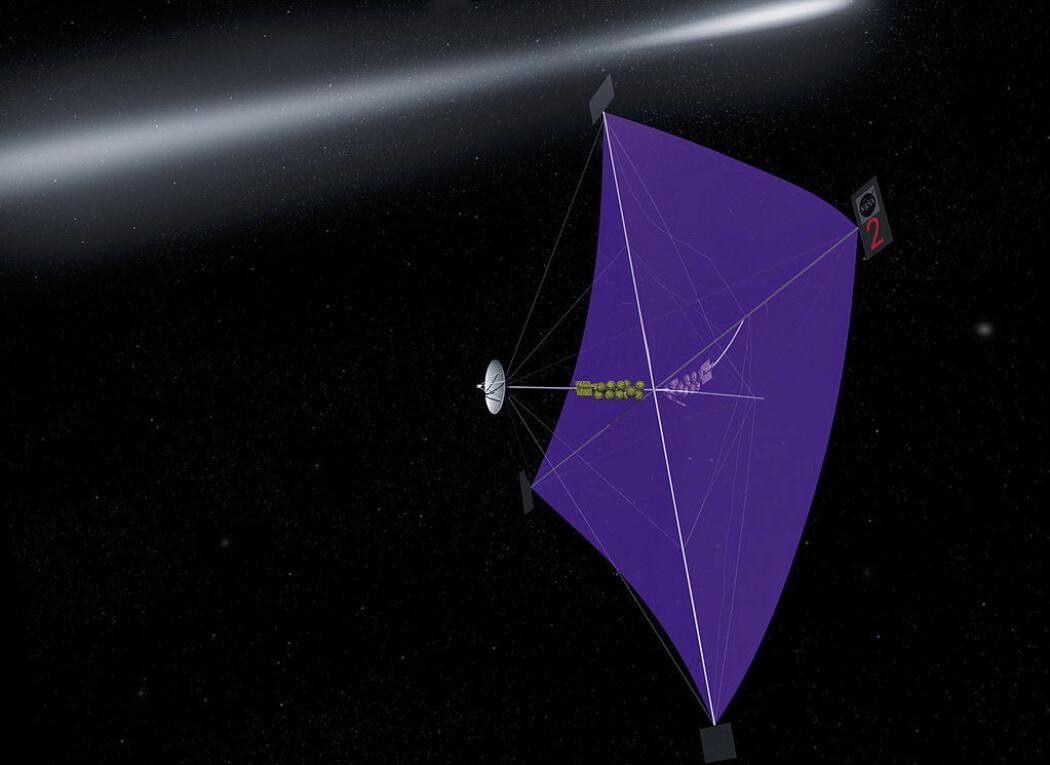 En NASA-illustrasjon som viser ideen om et solseil. Lyset «dytter» romfartøyet gjennom verdensrommet. (Bilde: NASA/Marshall Space Flight Center)