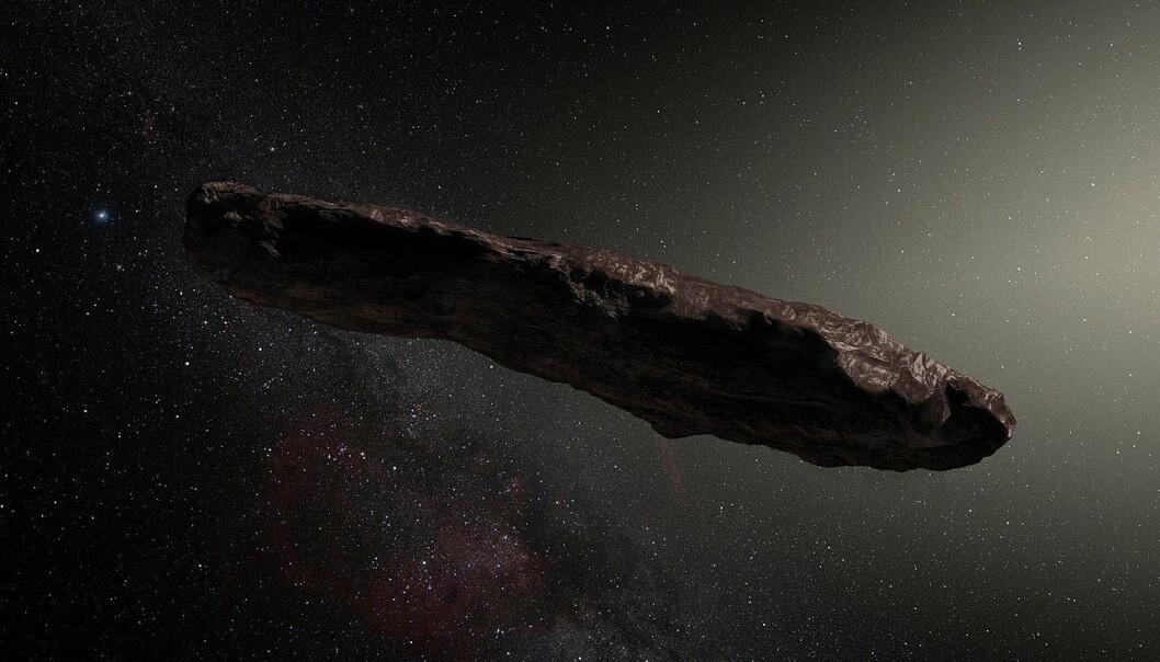 En illustrasjon som viser hvordan 'Oumuamua kan se ut, hvis det faktisk er en asteroide eller komet. Det har ikke blitt tatt noen nærbilder av et mystiske objektet, så ingen vet hvordan det ser ut. (Bilde: ESO/M. Kornmesser)