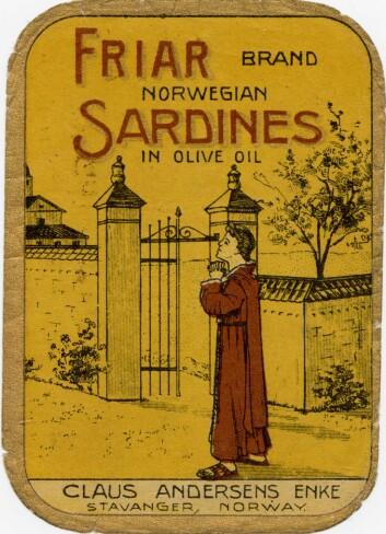Friar brand ble registrert i 1912 og er et godt eksempel på Claus Andersens Enke sin bruk av religiøse symboler i markedsføringen Foto: MUST/ Norsk hermetikkmuseum