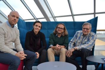 Disse forskerne har jobbet med rapporten om hatytringer. Fra venstre: Kurt Elvegård, Janikke Solstad Vedeler, Terje Olsen og John Eriksen. (Foto: Hanne Risa / Nordlandsforskning)