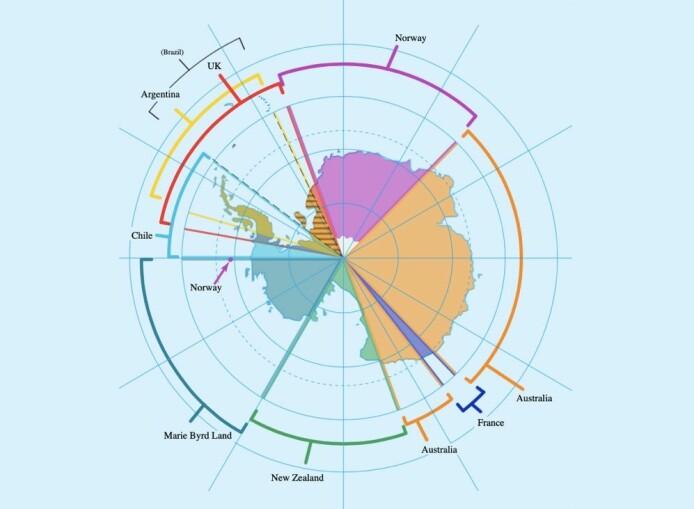 Dronning Maud Land i Antarktis (lilla farge) er syv ganger så stort som Norge og har i dag en rekke forskningsstasjoner. «Hovedstaden» er den norske forskningsstasjonen Troll. I tillegg gjør Norge krav på Peter I Øy på den andre siden av kontinentet. Norge krever også Bouvetøya som ligger lenger nord opp mot Afrika. (Illustrasjon: Lokal_Profil/A losse necktie/Wikipedia)