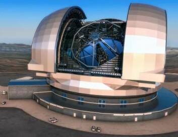 E-ELT blir omtrent på størrelse med Colosseum i Roma. Kuppelen skal måle 86 meter i diameter og rekke 74 meter opp mot himmelen. Det 2800 tonn tunge teleskopet vil kunne svinges i alle retninger. (Foto: (Illustrasjon: ESO/L. Calçada))