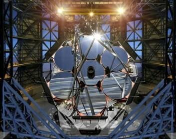 Hovedspeilet i GMT vil bestå av sju speil som hver måler 8,4 meter i diameter. (Foto: (Illustrasjon: GMTO))