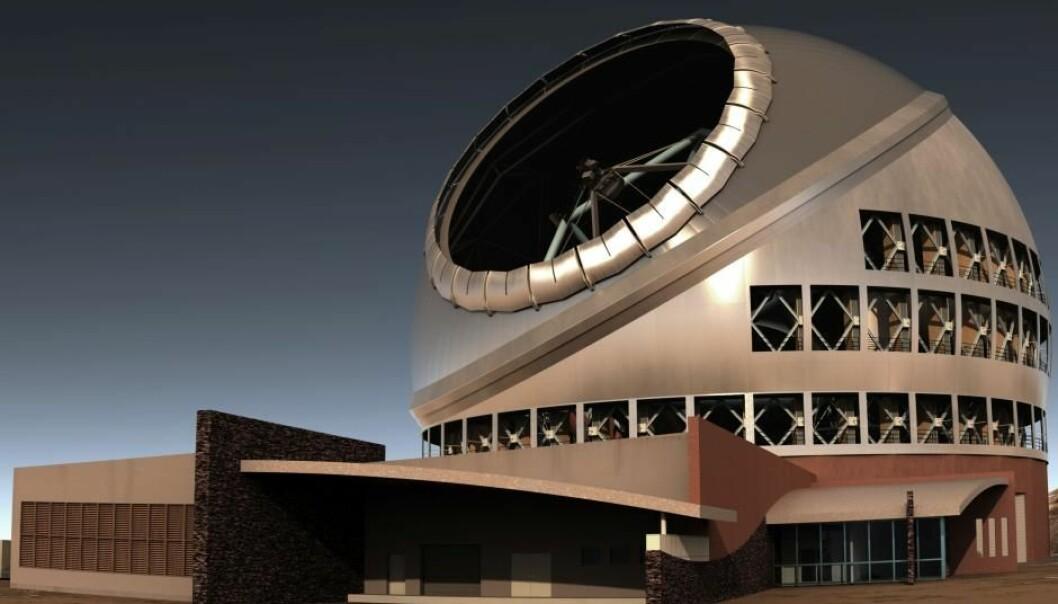 TMT blir et flott teleskop, uansett om det havner på Hawaii eller La Palma. (Illustrasjon: TMT)