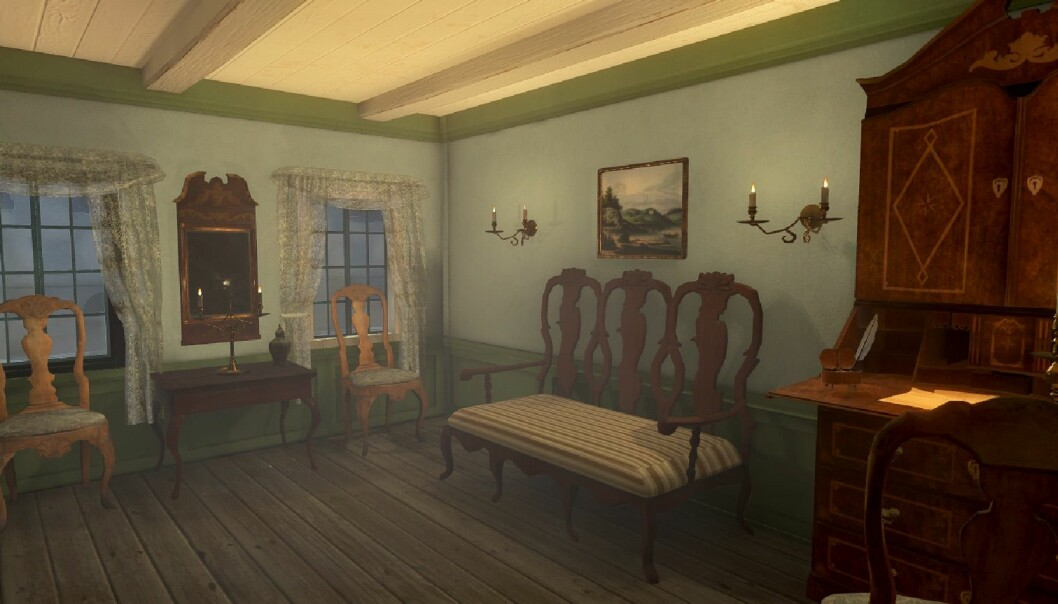 Den fotogrammetrerte stolen fra Ladegården er satt inn i et av (de er ikke helt ferdige) interiørene i Oslo havn 1798. (Foto: Tidvis AS)