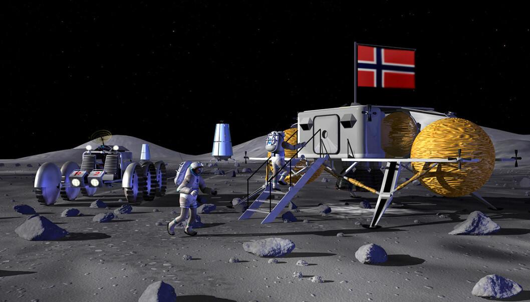 Det norske flagget vaiet først på Sydpolen 14. desember 1911. Nordmenn var gode sjøfarere og båtbyggere. Det forklarer dristigheten bak våre tidlige oppdagerferder, mener Terje Wahl fra Norsk Romsenter. Nå, 100 år seinere, har vi ikke tilsvarende skip for de store dyp i verdensrommet. Derfor vil neppe det norske flagget vaie på månen, som i denne fantasimontasjen basert på en illustrasjon av en månebase fra 2006. (Illustrasjon: NASA/bearbeidet av Arnfinn Christensen, forskning.no)