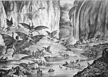 Noen ganger tar fantasien overhånd: I 1835 trykket New York-avisa The Sun seks artikler om liv på månen, angivelig oppdaget av astronomen Sir John Herschel. Historiene var livlig illustrert og fikk fart på opplaget til The Sun. Selv om artiklenee raskt ble avslørt som skrøner og kjent som The Great Moon Hoax. (Foto: (Litografi: Ukjent opprinnelse))