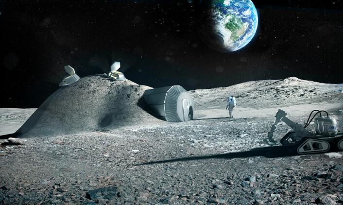 En månebase kan bygges med en oppblåsbar kuppel som så dekkes med lag på lag av månestein, lagt på ved hjelp av 3D-trykking. Den europeisk romfartsorganisasjonen ESA gjorde sammen med arkitektfirmaet Foster+Partners en studie av denne teknologien i 2013. Våren 2016 lanserte påtroppende ESA-sjef Johann Dietrich Wörner idéen om en månebase, blant annet for videre utforsking av vår nærmeste naboklode. (Foto: (Illustrasjon: ESA/Foster + Partners))
