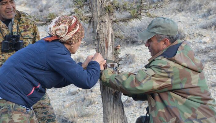 Naturoppsyn får opplæring i bruk av viltkamera. Foto John Linnell, NINA