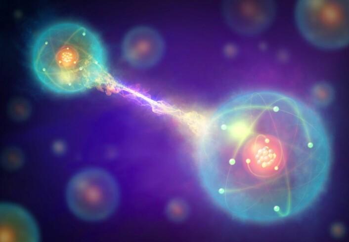 En kunstnerisk fraemstilling av såkalt kvantesammenfiltring. To partikler ser ut til å være knyttet sammen på tvers av tid og rom. Endringer i av en av partiklene, for eksempel en observasjon eller en måling, vil påvirke den andre uavhengig av avstanden mellom dem. (Foto: Science Photo Library/NTB scanpix)