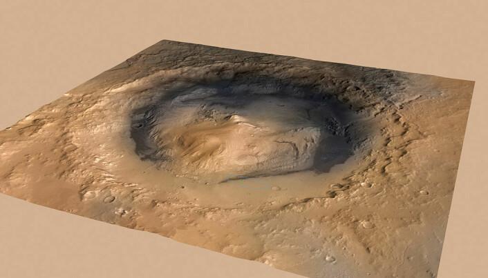 Hele Gale-krateret, som er 154 km i diameter. I midten er fjellet Aeolis Mons. (Bilde: NASA/JPL)