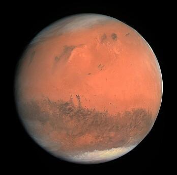 Mars sett med teleskop fra jorda. (Bilde: ESA/CC BY-Sa 3.0)