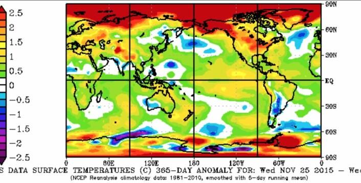 Temperaturavviket fra normalen for de siste 365 døgn (25 nov 2015 - 25 nov 2016). (Bilde: NOAA)