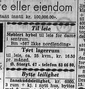 Det kunne være vanskelig for nordlendinger å finne bolig i Oslo. Her er en boligannonse fra Drammens Tidende 1. mars 1960. (Foto: Drammens Tidende)